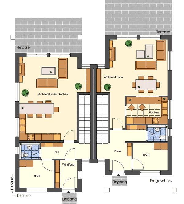 doppelhaus im bauhausstil hegner m ller gmbh. Black Bedroom Furniture Sets. Home Design Ideas