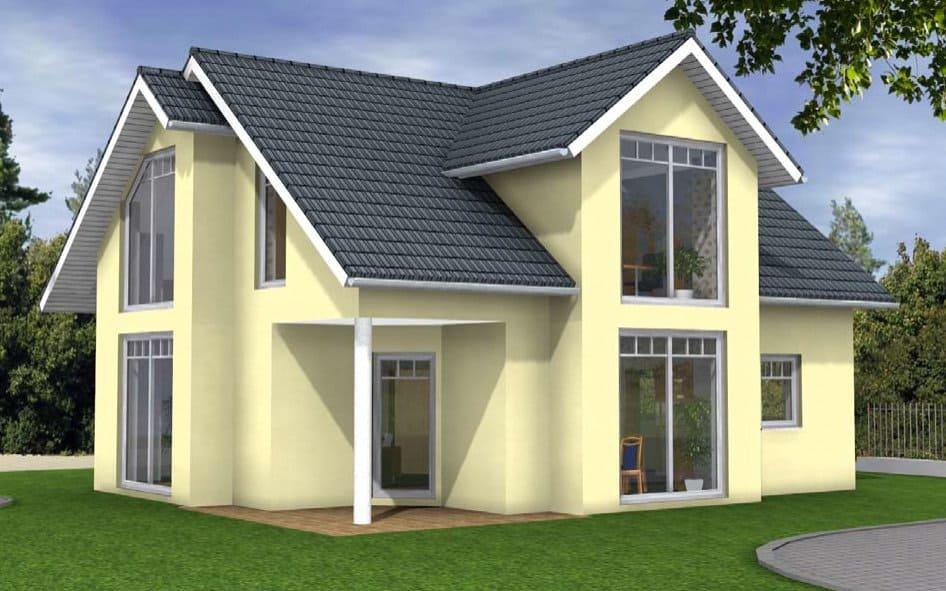 Einfamilienhaus mit grossen Fenstern
